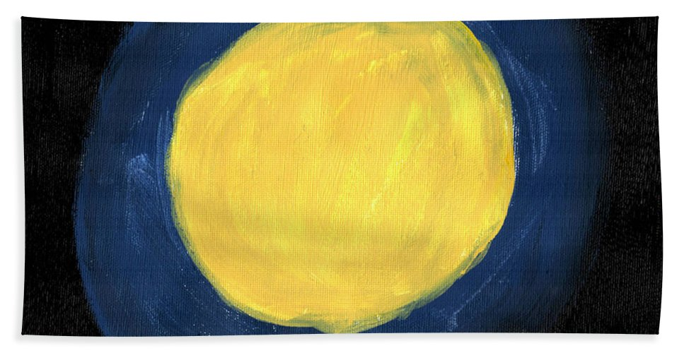 Art & Collectibles Beach Towel featuring the painting Blue Night Sun by Sindy Original