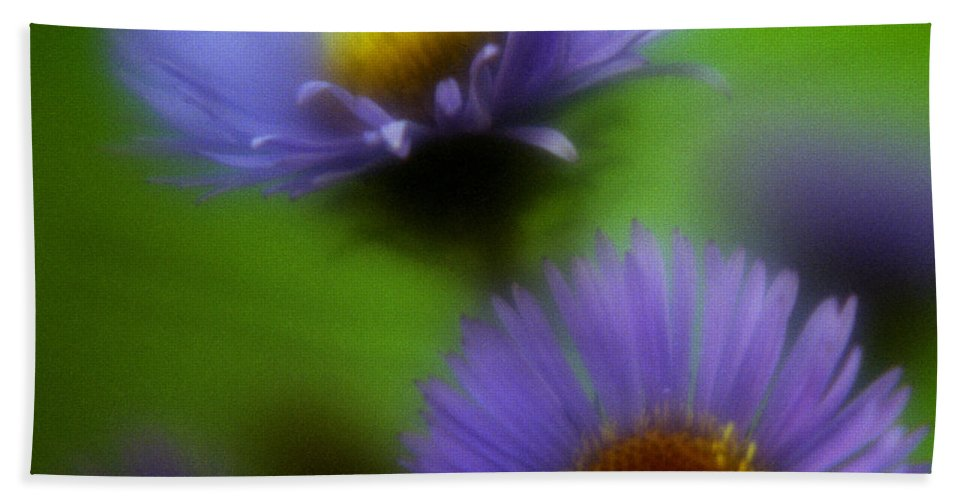 Macrophotography Beach Towel featuring the photograph Blue On Green 2 by Lee Santa