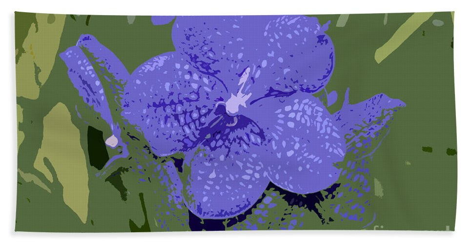 Flower Beach Towel featuring the photograph Blue On Green Work Number 9 by David Lee Thompson