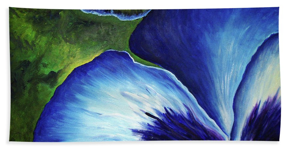 Pansy Beach Towel featuring the painting Blue Pansies by Nancy Mueller