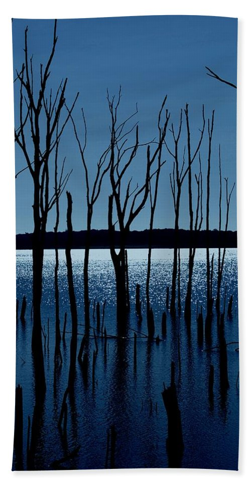 Nature Landscapes Beach Towel featuring the photograph Blue Reservoir - Manasquan Reservoir by Angie Tirado