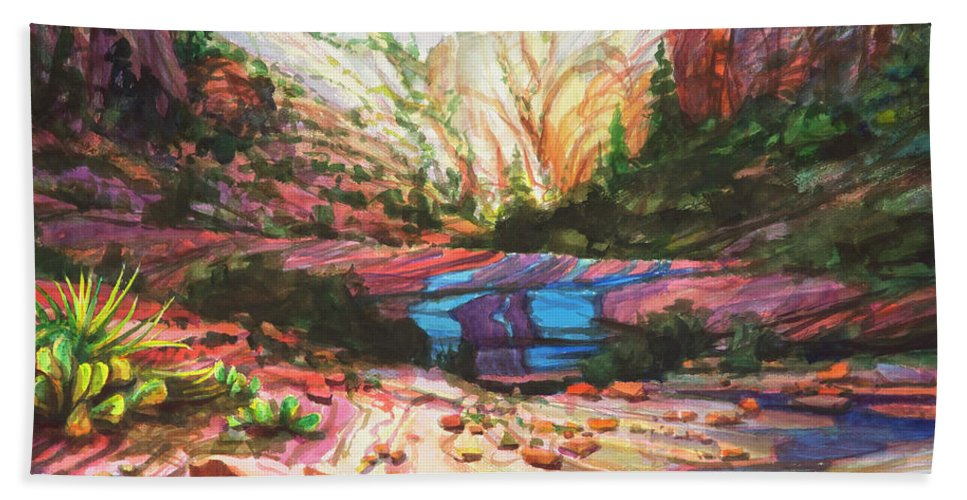 Zion Beach Towel featuring the painting Blue Ribbon by Steve Henderson