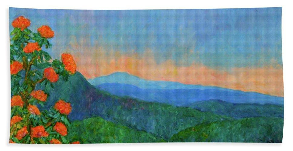 Kendall Kessler Beach Towel featuring the painting Blue Ridge Morning by Kendall Kessler