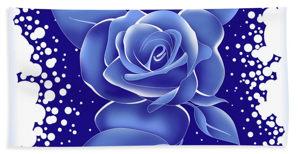 Rose Beach Towel featuring the painting Blue Rose by Alison Stein
