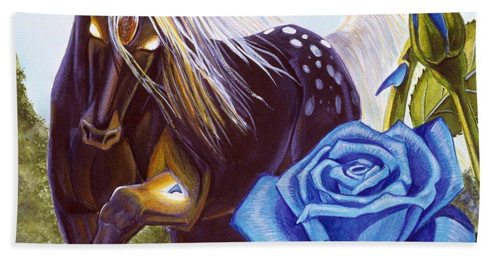 Unicorn Beach Towel featuring the drawing Blue Rose Unicorn by Melissa A Benson