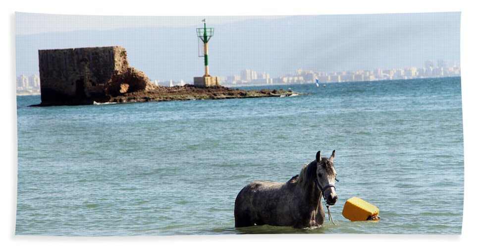 Horse Beach Towel featuring the photograph Blue Sea by Munir Alawi