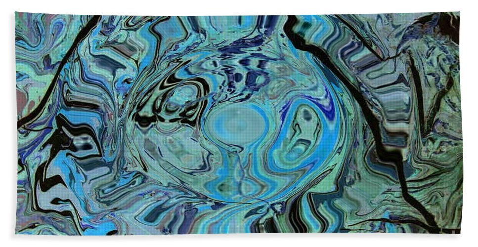 Blue Shimmers Beach Towel featuring the painting Blue Shimmers by Dawn Hough Sebaugh