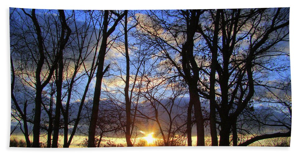 Sunset Beach Towel featuring the photograph Blue Skies And Golden Sun by J R Seymour