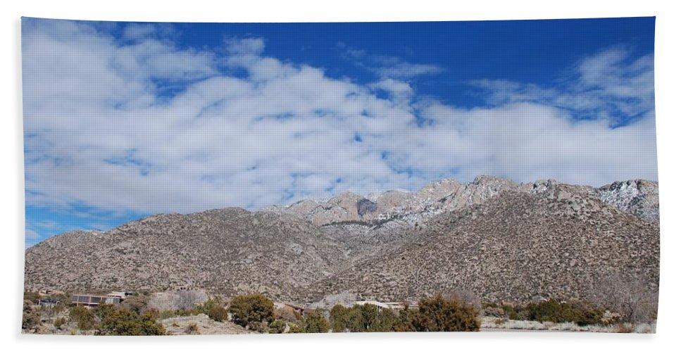 Sandia Mountains Beach Sheet featuring the photograph Blue Skys Over The Sandias by Rob Hans