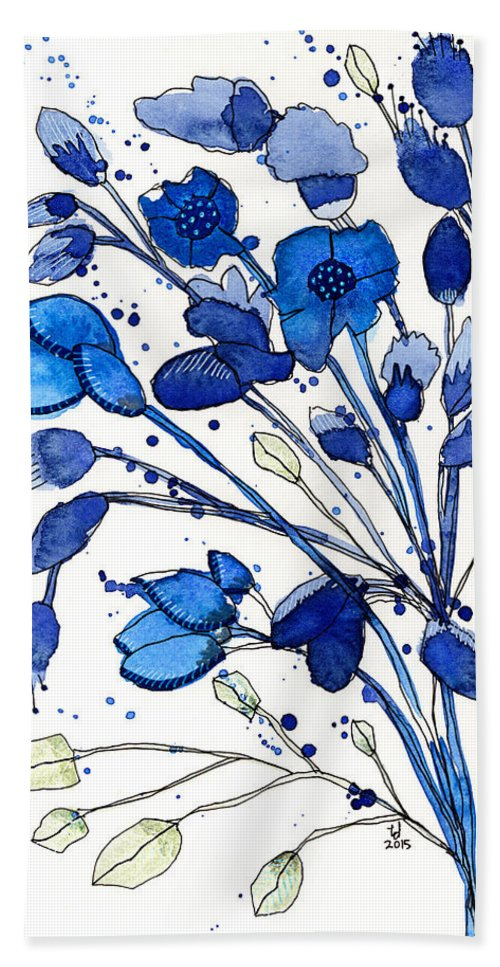 Bouquet Beach Towel featuring the painting Blue Spray by Tonya Doughty