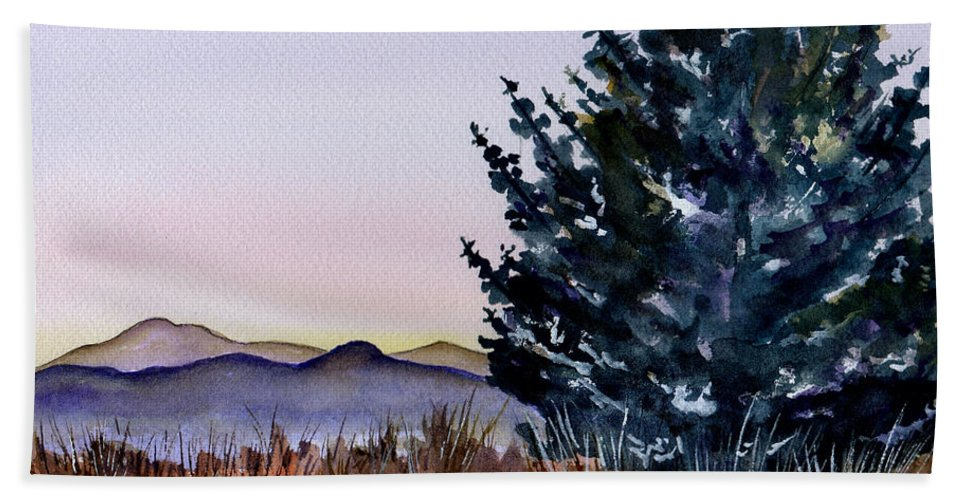 Watercolor Beach Towel featuring the painting Blue Spruce by Brenda Owen