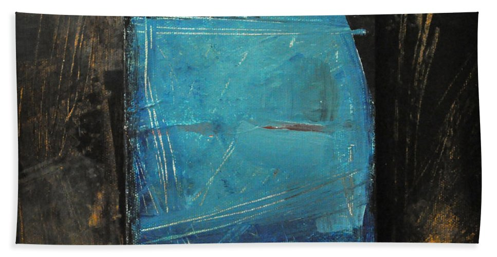 Blue Beach Towel featuring the painting Blue Square by Tim Nyberg