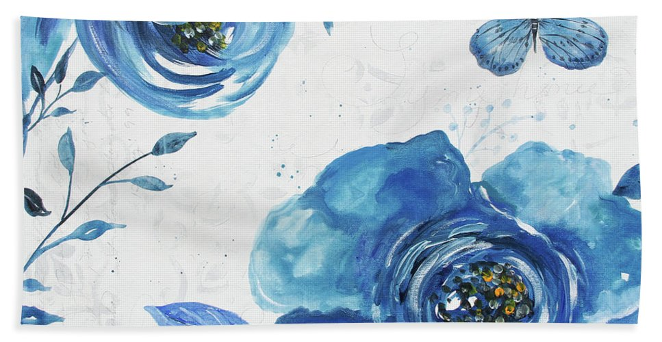 Blue Beach Towel featuring the painting Blue Symphonie In The Garden 1 by Jean Plout