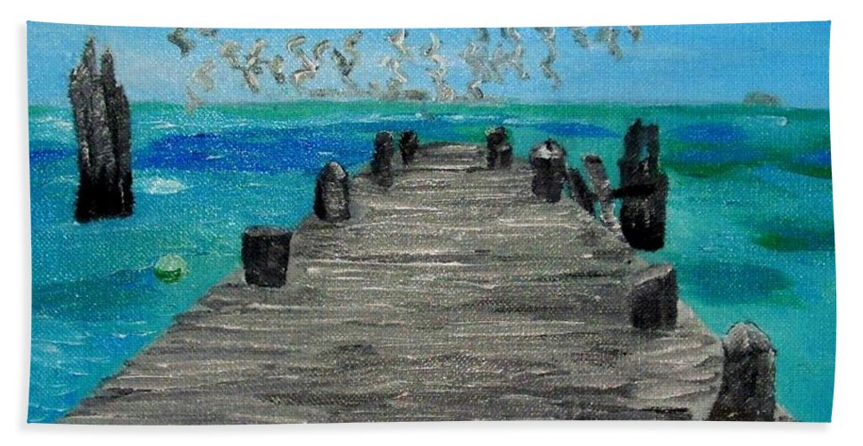 Beach Beach Towel featuring the painting Blue Water by Leslye Miller