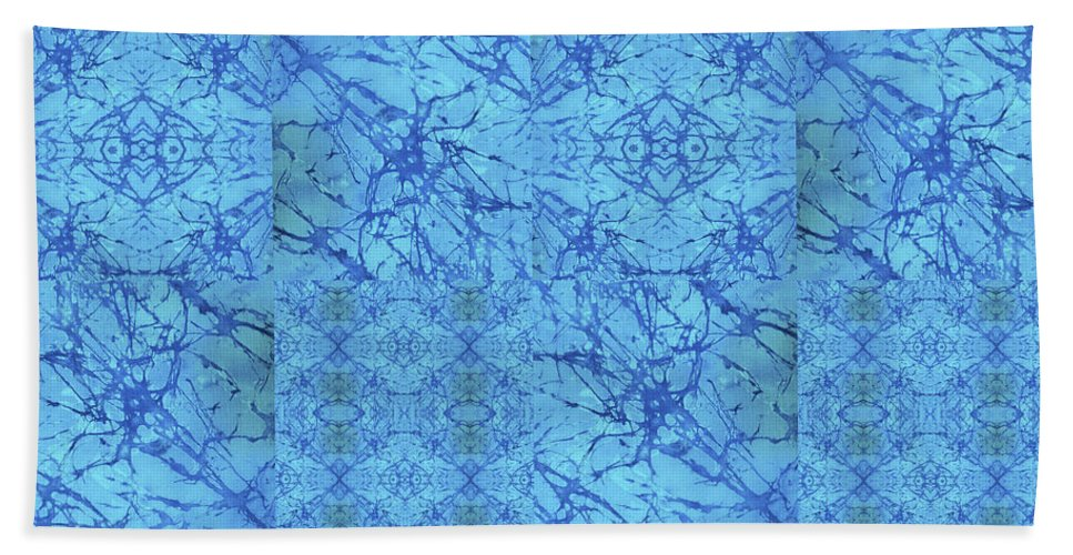 Blue Beach Towel featuring the painting Blue Water Patchwork by Sue Duda