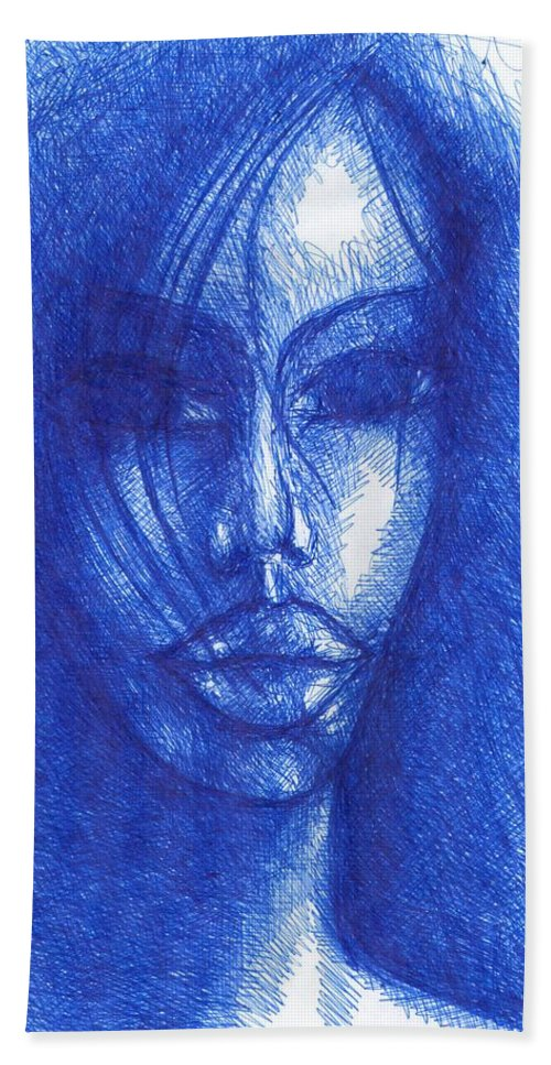 Psychedelic Beach Towel featuring the drawing Blue by Wojtek Kowalski