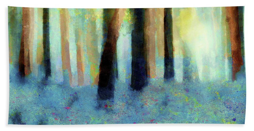 Abstract Beach Towel featuring the painting Bluebell Wood By V.kelly by Valerie Anne Kelly