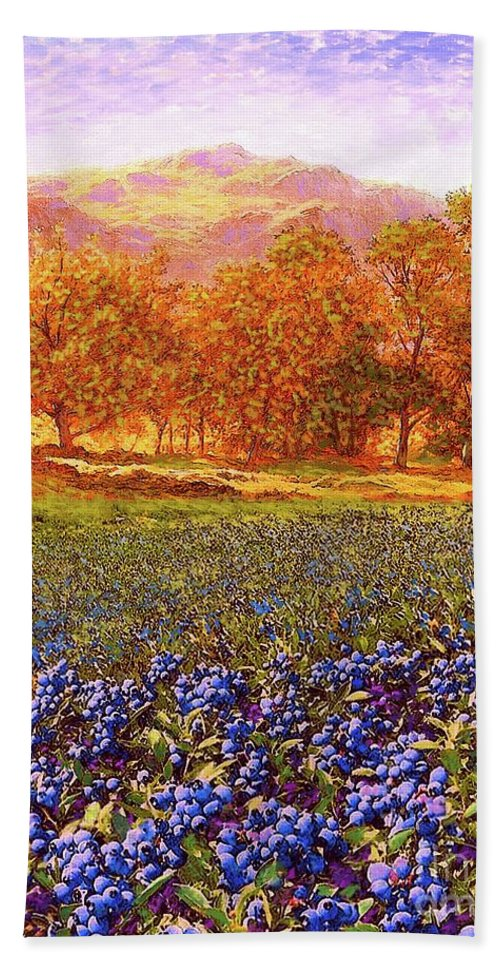 Tree Beach Towel featuring the painting Blueberry Fields by Jane Small