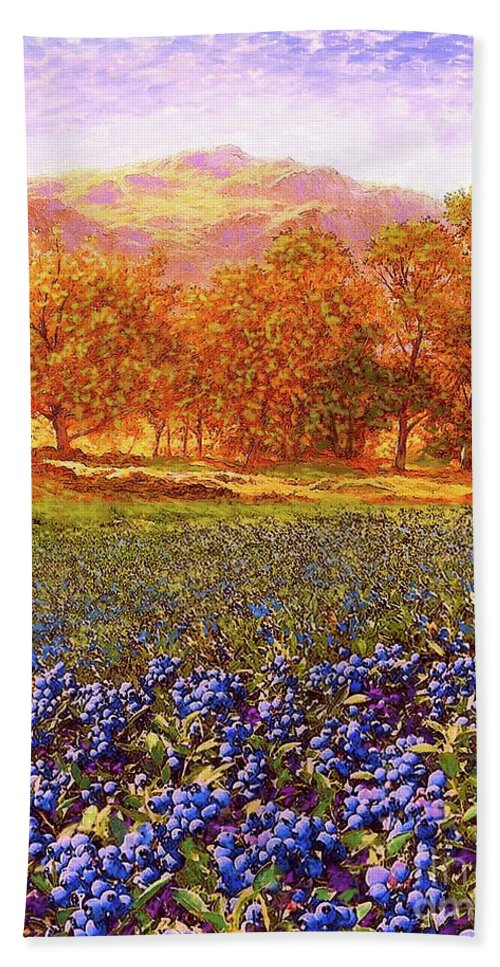 Meadow Beach Towel featuring the painting Blueberry Fields Season Of Blueberries by Jane Small