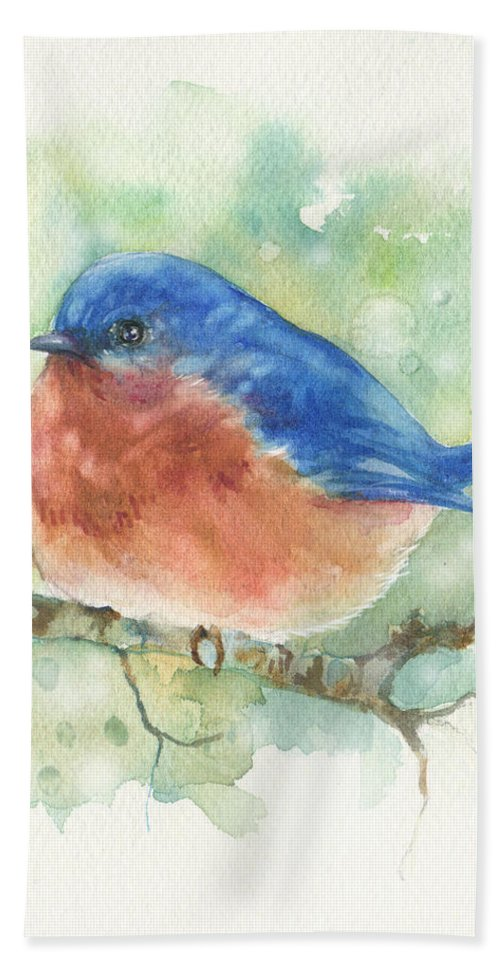 Blue Bird Beach Towel featuring the painting Bluebird On Twig by Peggy Wilson
