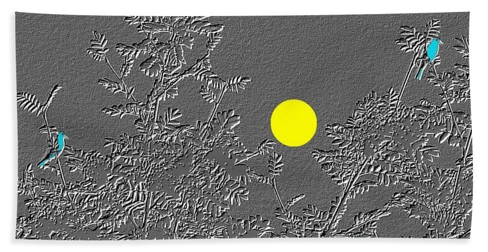 Abstract Beach Towel featuring the digital art Bluebirds by Will Borden