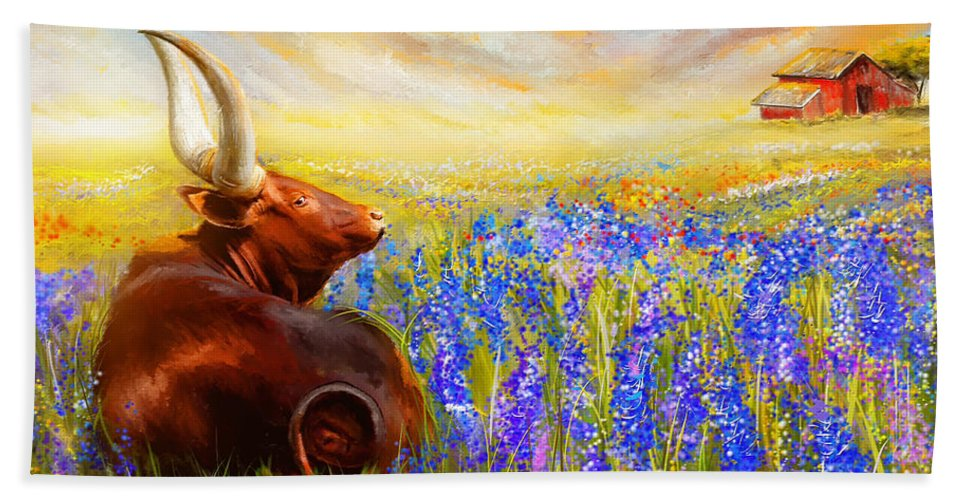 Texas Longhorn Beach Sheet featuring the painting Bluebonnet Dream - Bluebonnet Paintings by Lourry Legarde