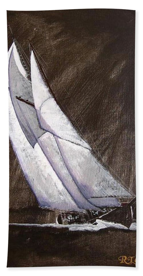 Bluenose Beach Towel featuring the painting Bluenose At Night Coming by Richard Le Page