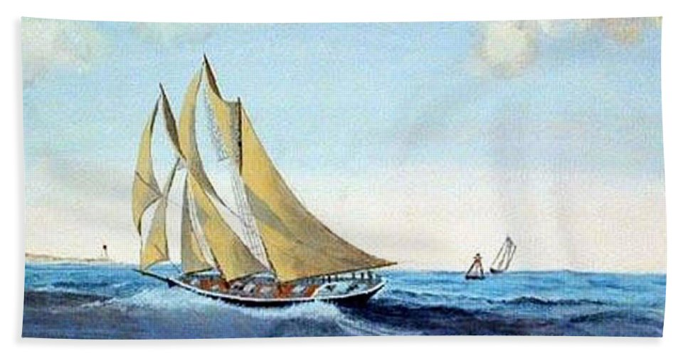 Bluenose Beach Towel featuring the painting Bluenose by Richard Le Page