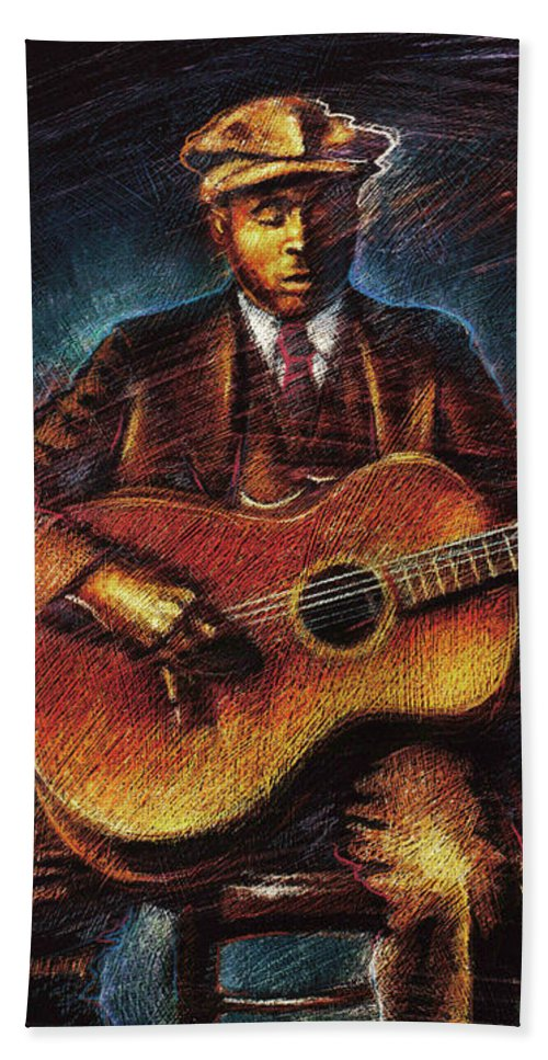 Blues Beach Towel featuring the mixed media Blues Guitarist by Don Locke