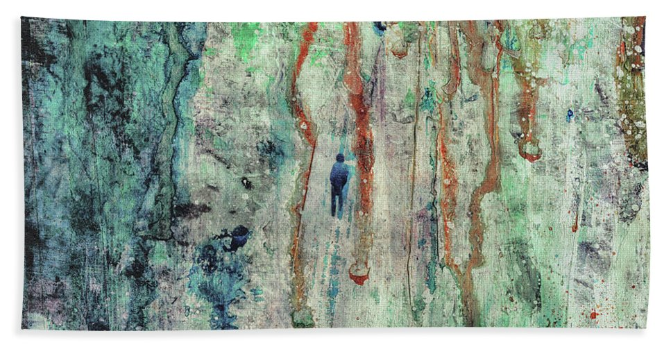 Abstract Beach Sheet featuring the painting Standing In The Rain - Large Abstract Urban Style Painting by Modern Abstract