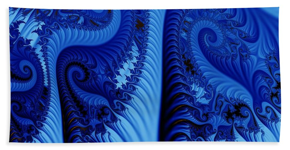 Fractal Art Beach Towel featuring the digital art Blues by Ron Bissett