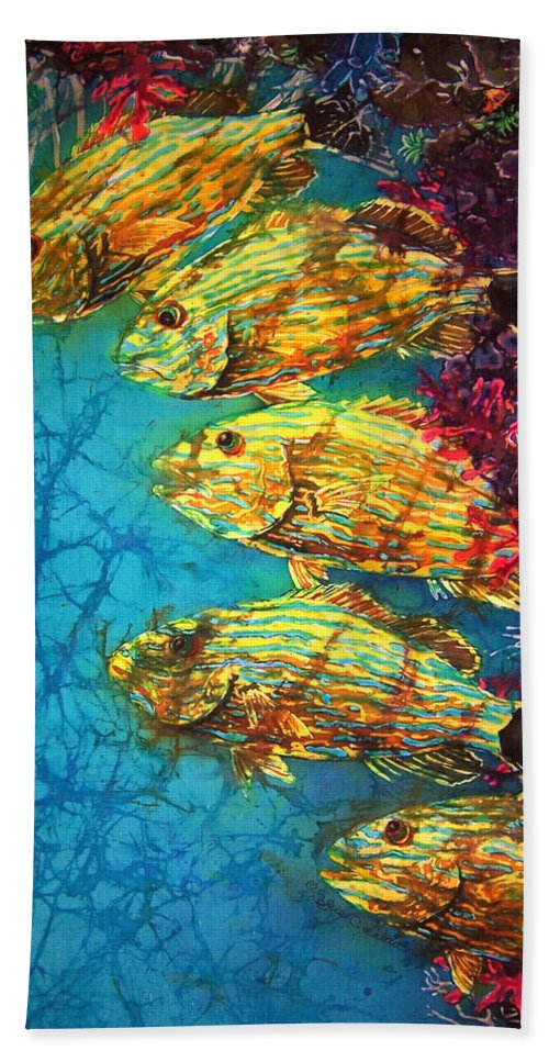 Bluestriped Grunts Beach Towel featuring the painting Bluestriped Grunts by Sue Duda