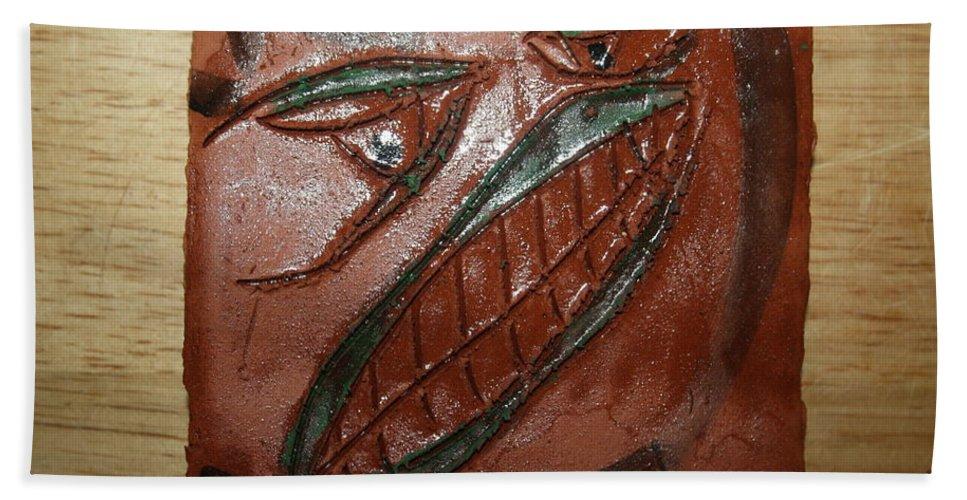 Jesus Beach Towel featuring the ceramic art Bluff - Tile by Gloria Ssali