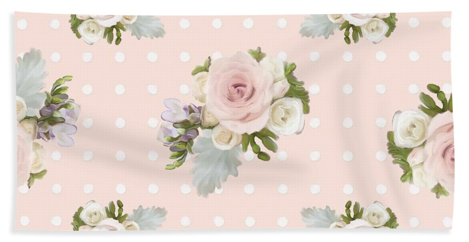 Blush Pink Beach Towel featuring the painting Blush Pink Floral Rose Cluster W Dot Bedding Home Decor Art by Audrey Jeanne Roberts