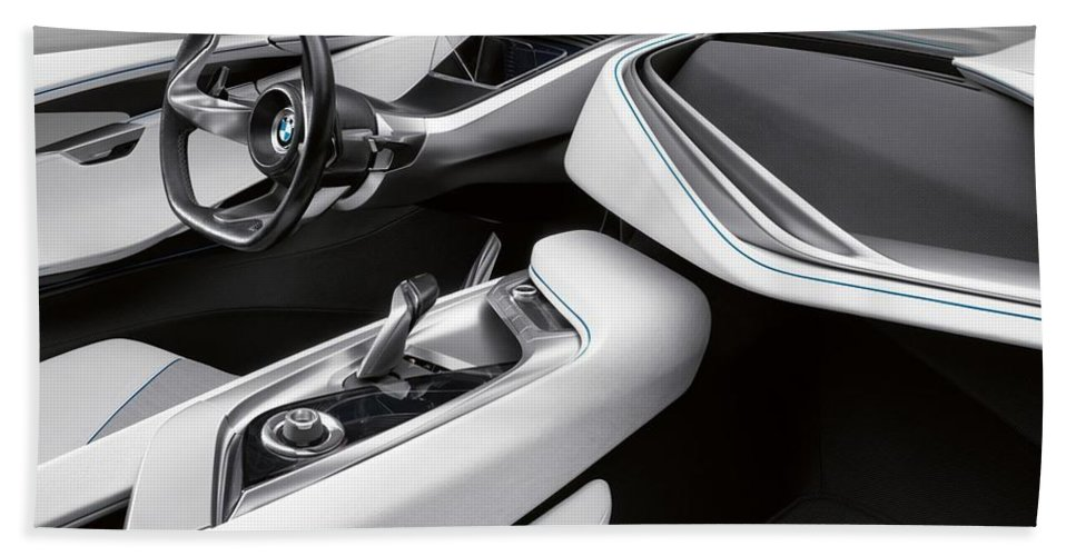 Bmw I8 Beach Towel featuring the photograph BMW i8 by Jackie Russo