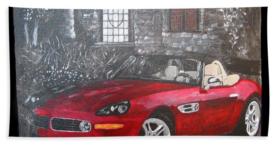 Bmw. Z8 Beach Towel featuring the painting Bmw Z8 by Richard Le Page