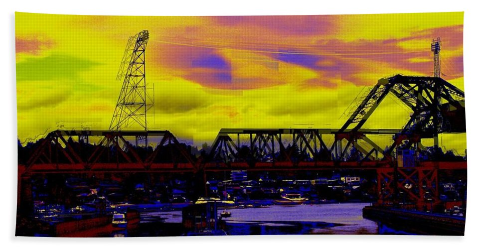 Seattle Beach Towel featuring the photograph Bnsf Trestle At Salmon Bay by Tim Allen
