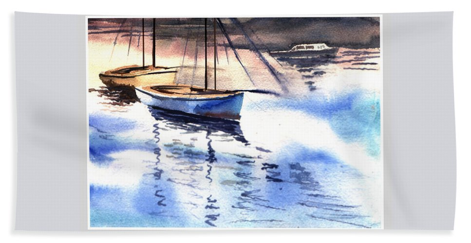 Watercolor Beach Towel featuring the painting Boat And The River by Anil Nene