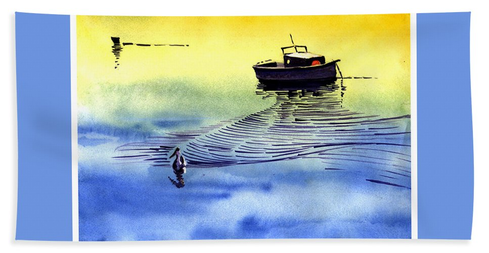 Watercolor Beach Sheet featuring the painting Boat And The Seagull by Anil Nene