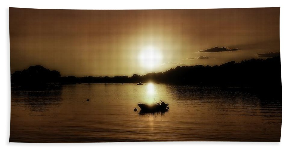 Boat Beach Towel featuring the photograph Boat At Sunset Glow - Sepia by Lilia D