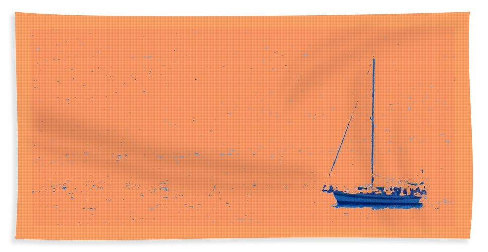 Boat Beach Sheet featuring the photograph Boat On An Orange Sea by Ian MacDonald