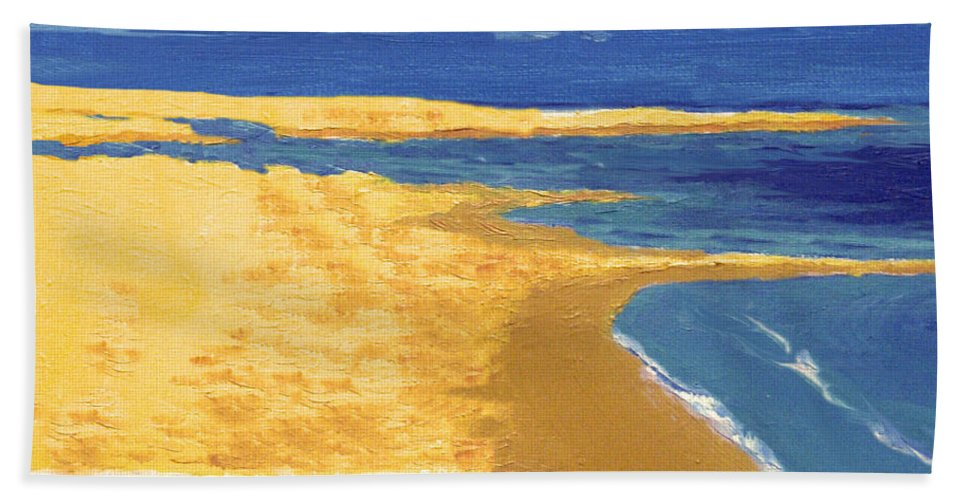Boat Beach Towel featuring the painting Boat On The Sand Beach by Alban Dizdari