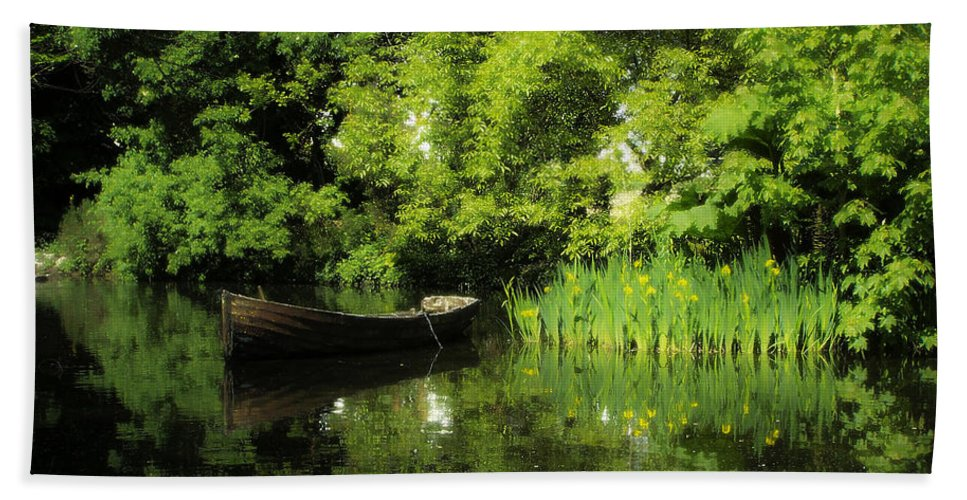 Irish Beach Towel featuring the digital art Boat Reflected On Water County Clare Ireland Painting by Teresa Mucha