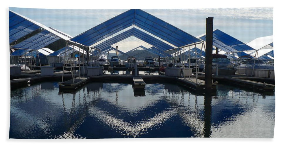 Boats Beach Sheet featuring the photograph Boat Reflection On Lake Coeur D'alene by Carol Groenen