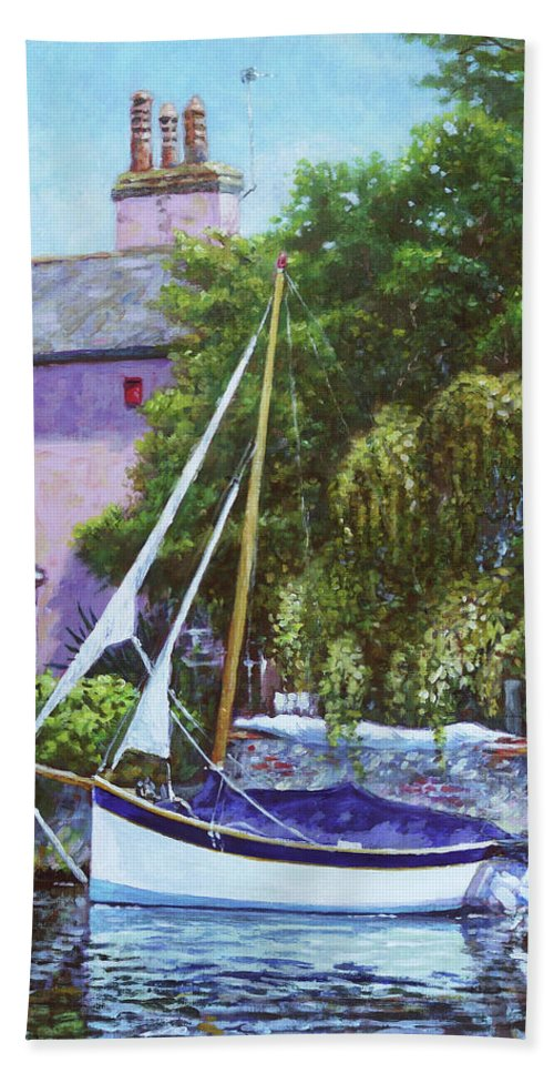 Boat Beach Towel featuring the painting Boat With Pink House On River by Martin Davey