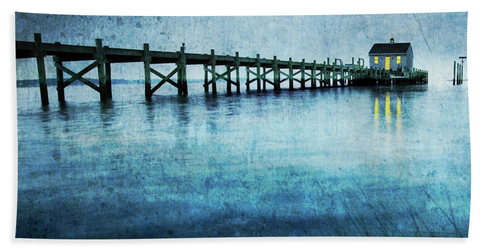 Boathouse Beach Towel featuring the photograph Boathouse Blue by Guy Crittenden