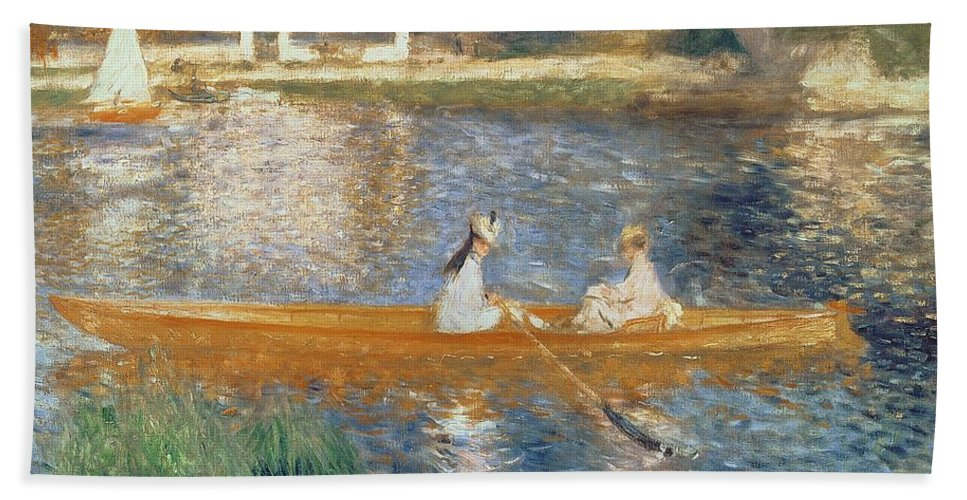 Boating On The Seine Beach Towel featuring the painting Boating On The Seine by Pierre Auguste Renoir