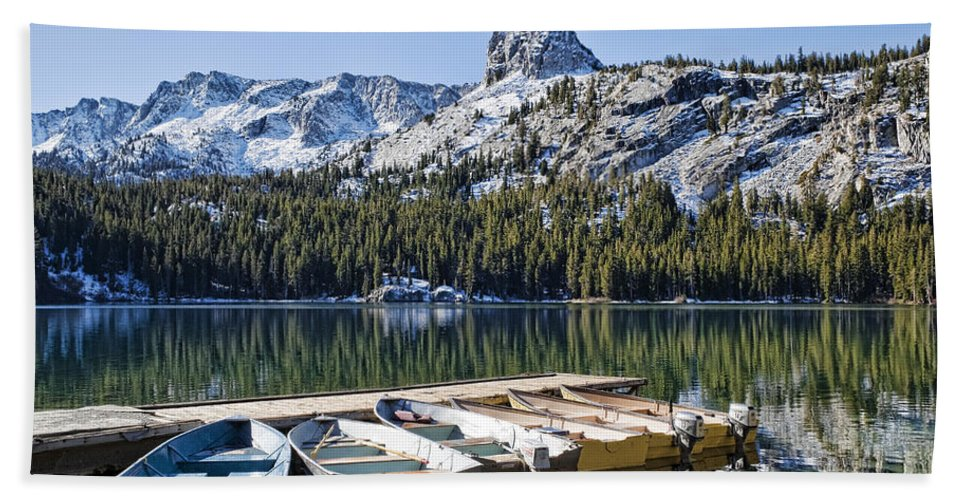 Water Beach Towel featuring the photograph Boats At Dock by Kelley King