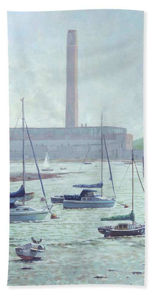 Boats Beach Towel featuring the painting Boats At Fawley Hampshire by Martin Davey