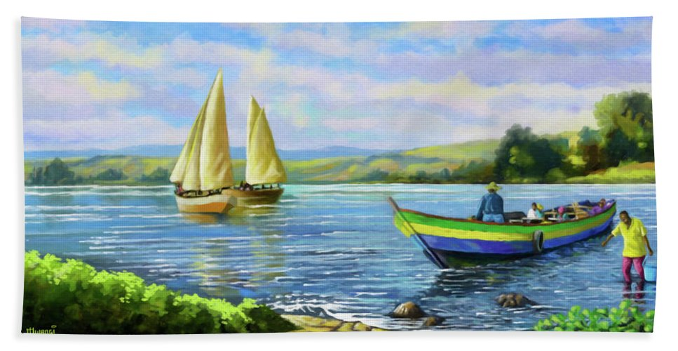 Lake Victoria Beach Towel featuring the painting Boats At Lake Victoria by Anthony Mwangi